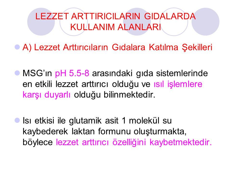 LEZZET ARTTIRICILARIN GIDALARDA KULLANIM ALANLARI
