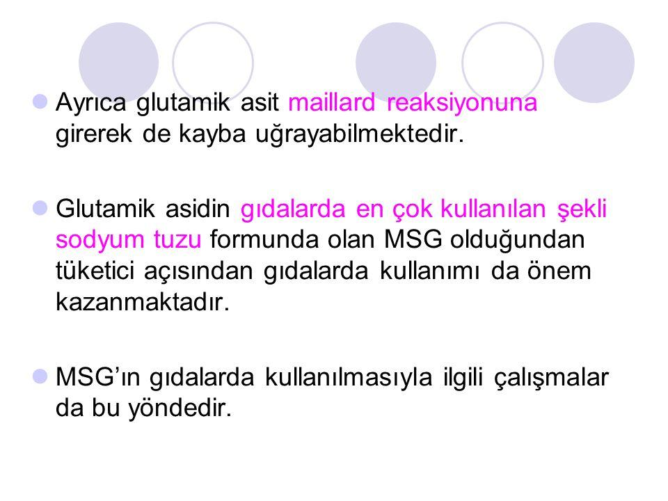 Ayrıca glutamik asit maillard reaksiyonuna girerek de kayba uğrayabilmektedir.