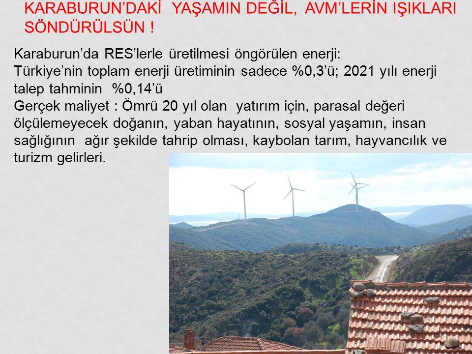 KARABURUN'DAKİ YAŞAMIN DEĞİL, AVM'LERİN IŞIKLARI SÖNDÜRÜLSÜN !