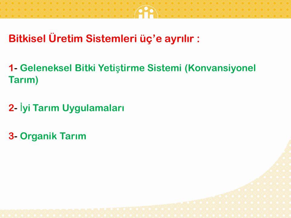 Bitkisel Üretim Sistemleri üç'e ayrılır :
