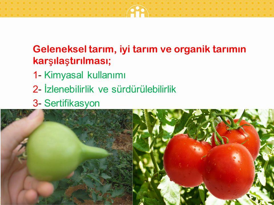 Geleneksel tarım, iyi tarım ve organik tarımın karşılaştırılması;