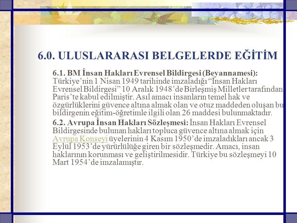 6.0. ULUSLARARASI BELGELERDE EĞİTİM