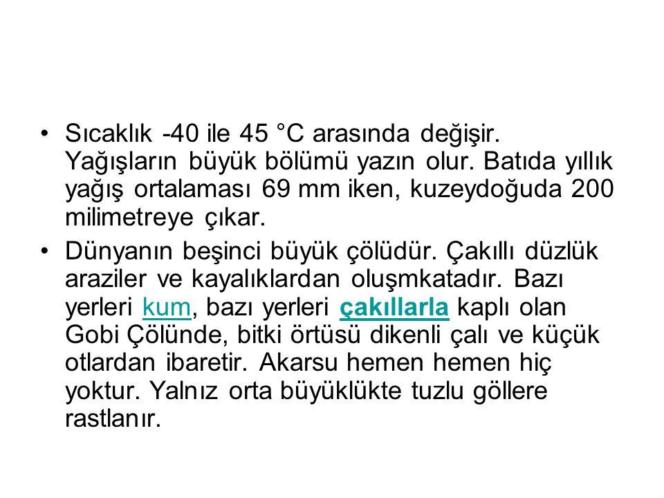 Sıcaklık -40 ile 45 °C arasında değişir