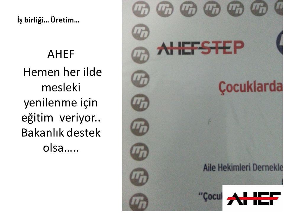 İş birliği… Üretim… AHEF. Hemen her ilde mesleki yenilenme için eğitim veriyor..