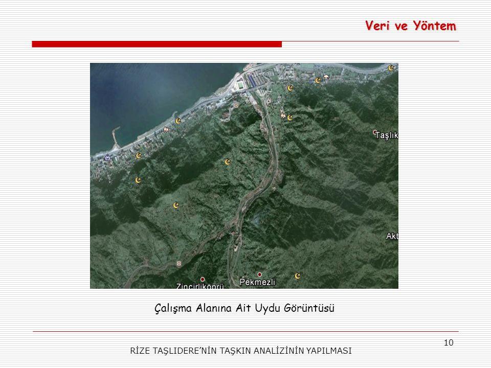 Veri ve Yöntem Çalışma Alanına Ait Uydu Görüntüsü