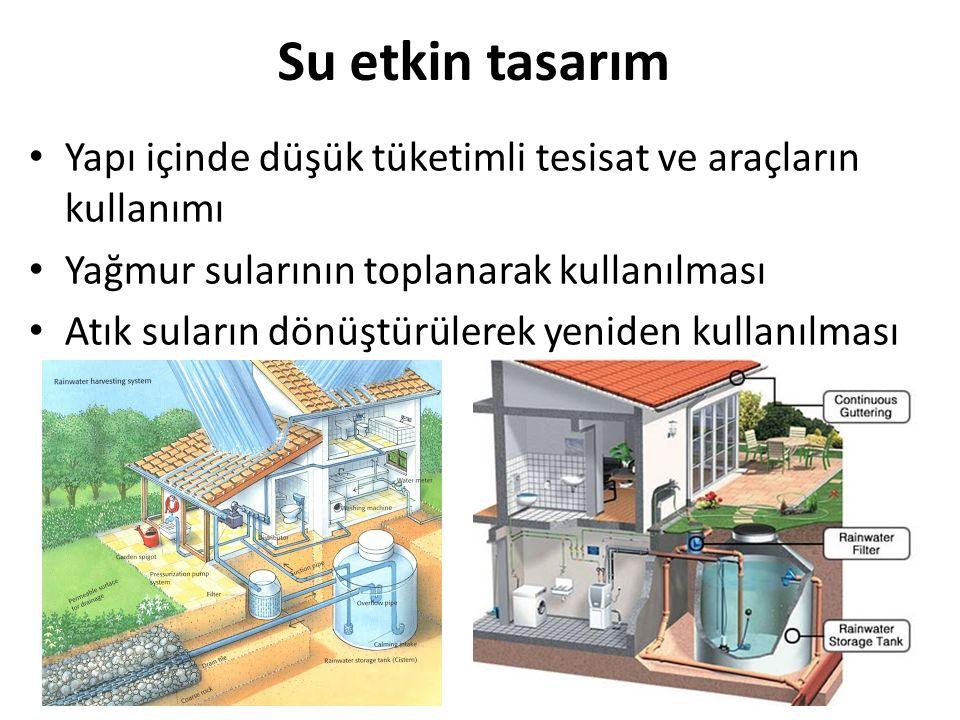 Su etkin tasarım Yapı içinde düşük tüketimli tesisat ve araçların kullanımı. Yağmur sularının toplanarak kullanılması.