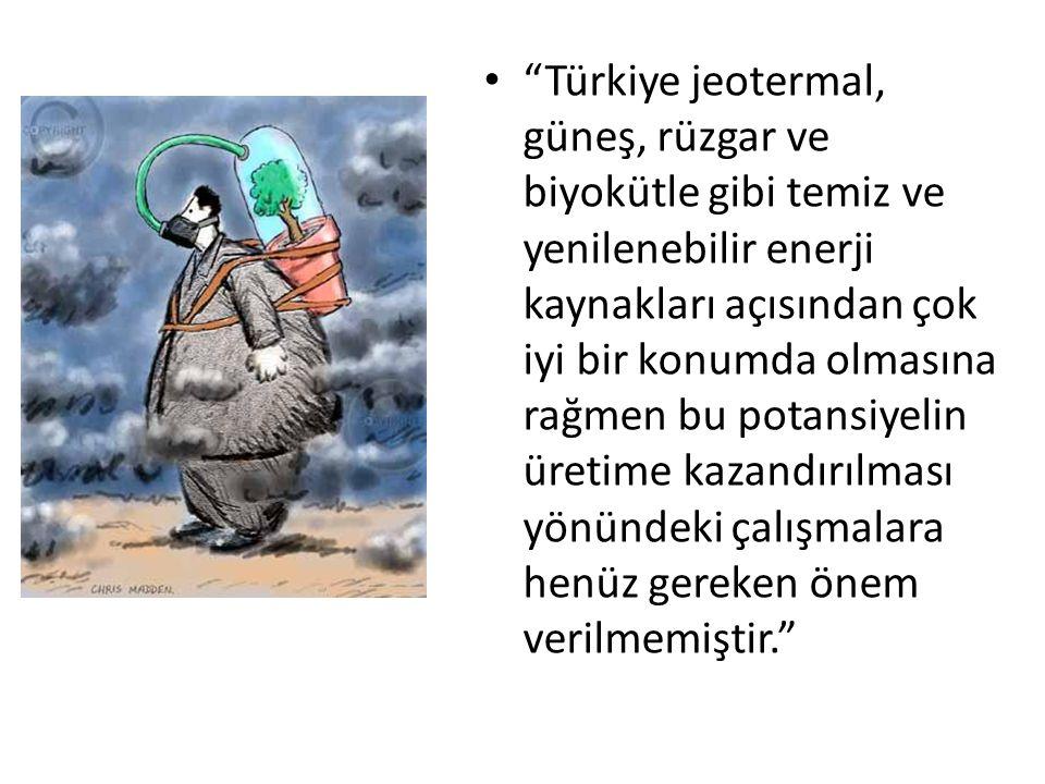 Türkiye jeotermal, güneş, rüzgar ve biyokütle gibi temiz ve yenilenebilir enerji kaynakları açısından çok iyi bir konumda olmasına rağmen bu potansiyelin üretime kazandırılması yönündeki çalışmalara henüz gereken önem verilmemiştir.