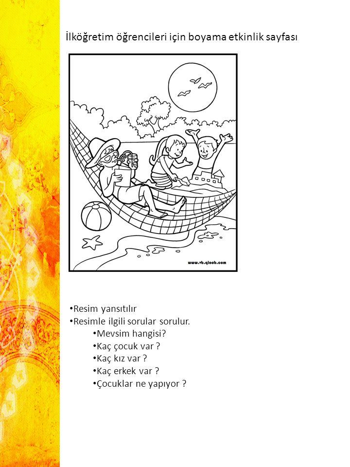İlköğretim öğrencileri için boyama etkinlik sayfası