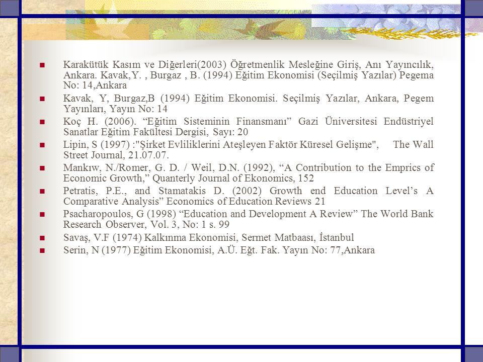 Karakütük Kasım ve Diğerleri(2003) Öğretmenlik Mesleğine Giriş, Anı Yayıncılık, Ankara. Kavak,Y. , Burgaz , B. (1994) Eğitim Ekonomisi (Seçilmiş Yazılar) Pegema No: 14,Ankara