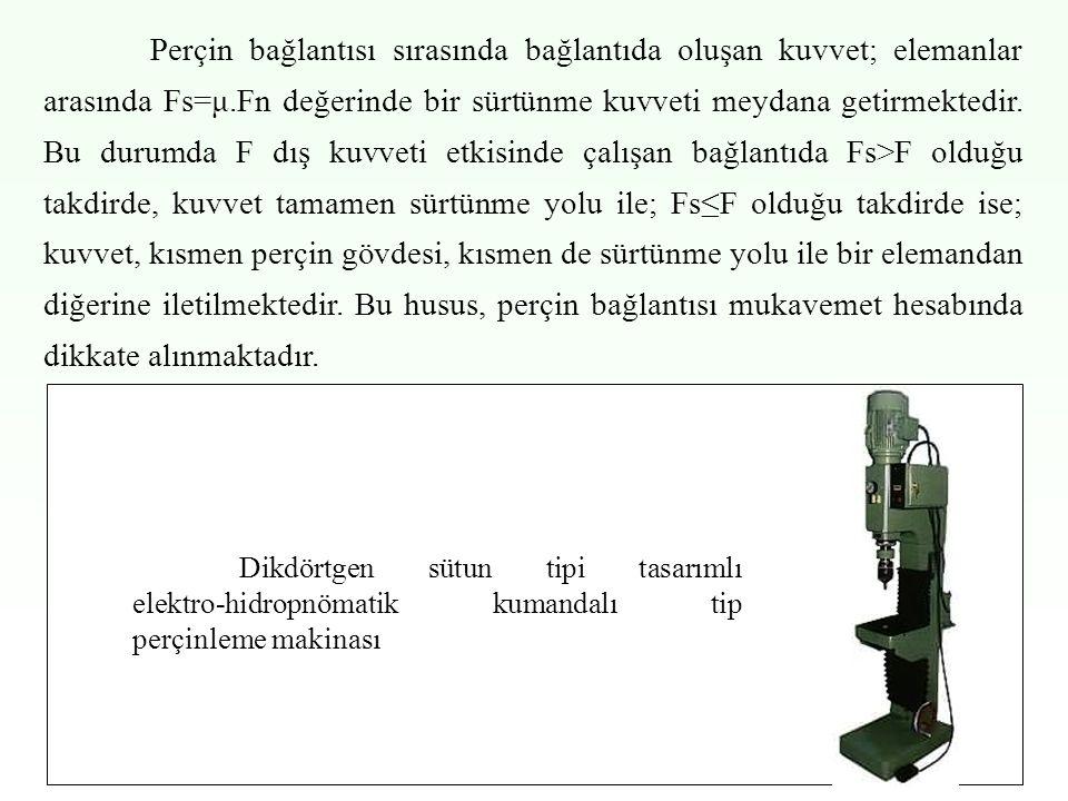 Perçin bağlantısı sırasında bağlantıda oluşan kuvvet; elemanlar arasında Fs=μ.Fn değerinde bir sürtünme kuvveti meydana getirmektedir. Bu durumda F dış kuvveti etkisinde çalışan bağlantıda Fs>F olduğu takdirde, kuvvet tamamen sürtünme yolu ile; Fs≤F olduğu takdirde ise; kuvvet, kısmen perçin gövdesi, kısmen de sürtünme yolu ile bir elemandan diğerine iletilmektedir. Bu husus, perçin bağlantısı mukavemet hesabında dikkate alınmaktadır.