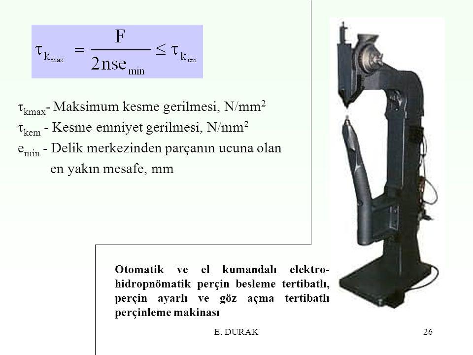 τkmax- Maksimum kesme gerilmesi, N/mm2