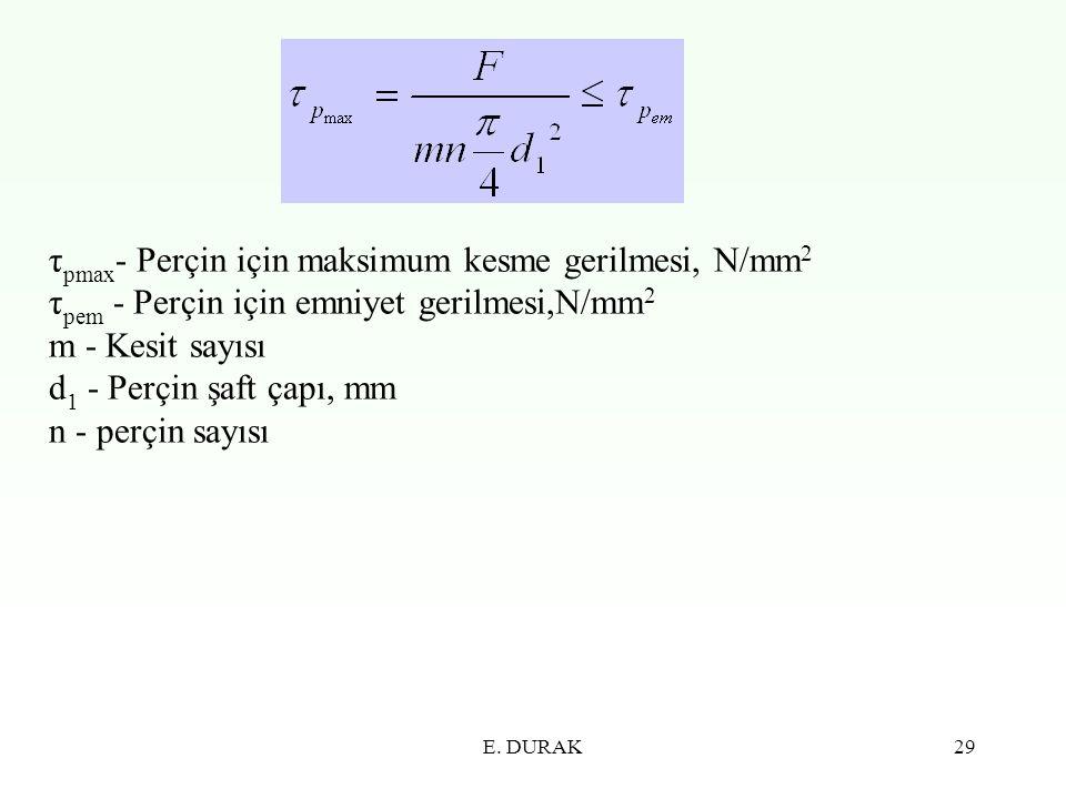 τpmax- Perçin için maksimum kesme gerilmesi, N/mm2