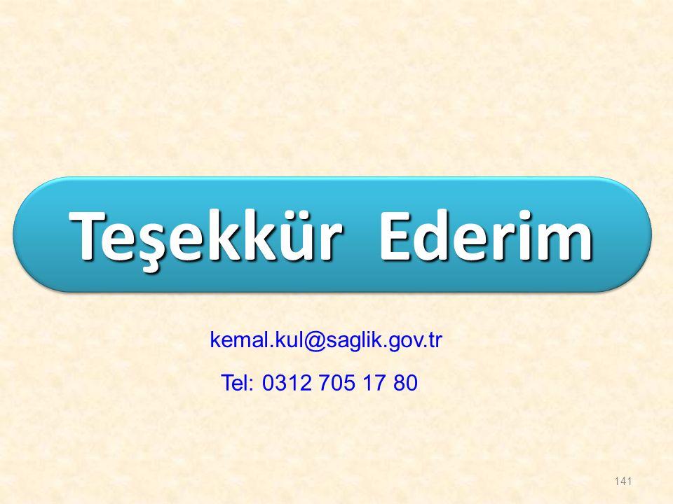 Teşekkür Ederim kemal.kul@saglik.gov.tr Tel: 0312 705 17 80