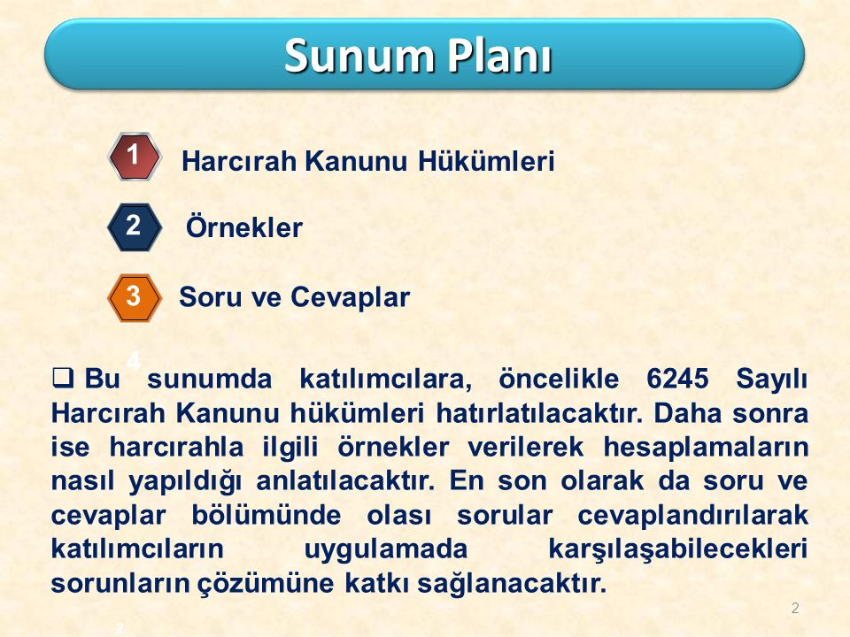 Sunum Planı 1 Harcırah Kanunu Hükümleri 2 Örnekler 3 Soru ve Cevaplar