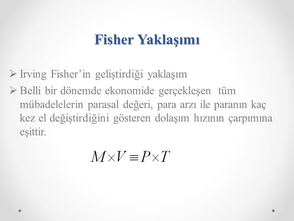 Fisher Yaklaşımı Irving Fisher'in geliştirdiği yaklaşım