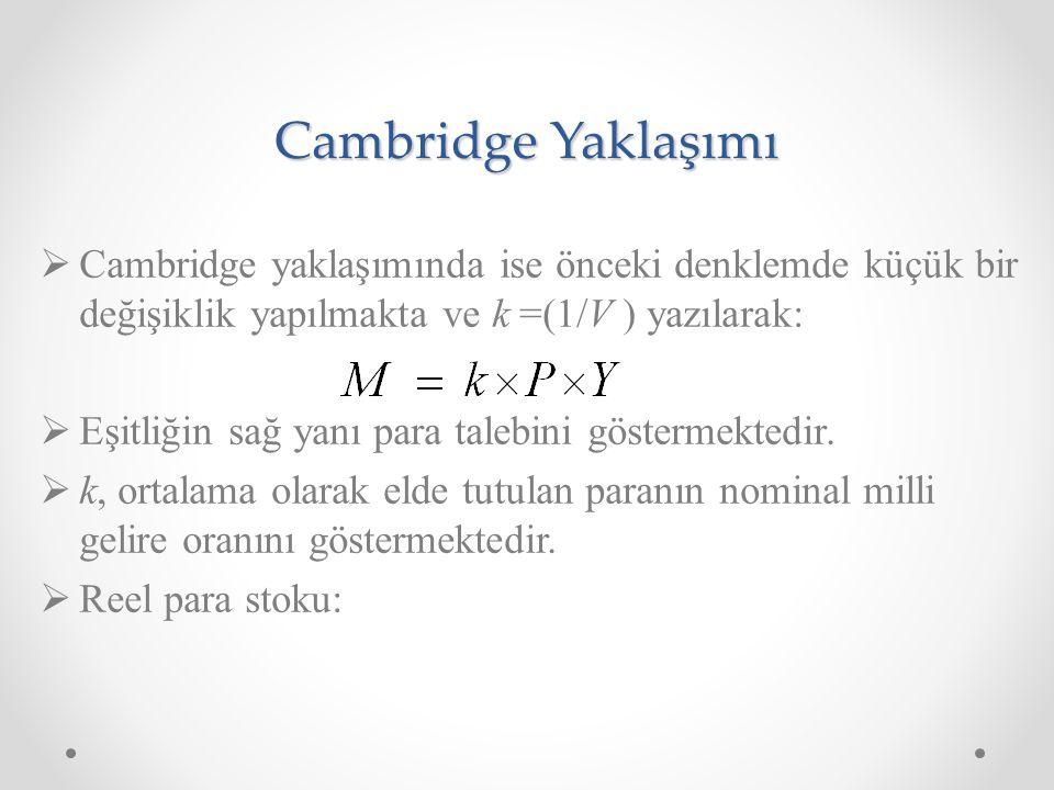 Cambridge Yaklaşımı Cambridge yaklaşımında ise önceki denklemde küçük bir değişiklik yapılmakta ve k =(1/V ) yazılarak:
