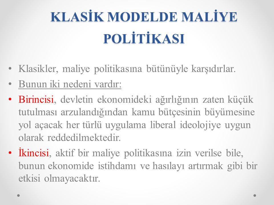 KLASİK MODELDE MALİYE POLİTİKASI