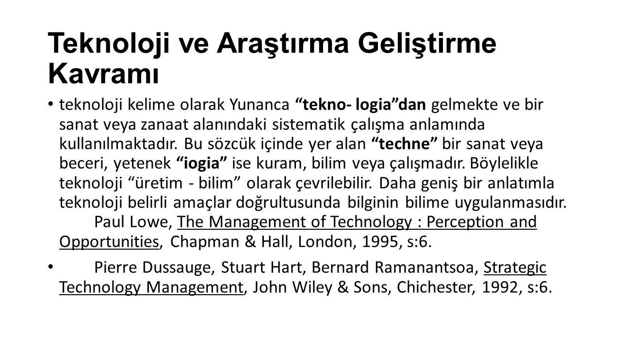 Teknoloji ve Araştırma Geliştirme Kavramı