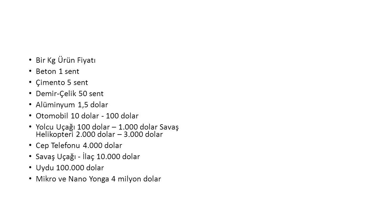 Bir Kg Ürün Fiyatı Beton 1 sent. Çimento 5 sent. Demir-Çelik 50 sent. Alüminyum 1,5 dolar. Otomobil 10 dolar - 100 dolar.