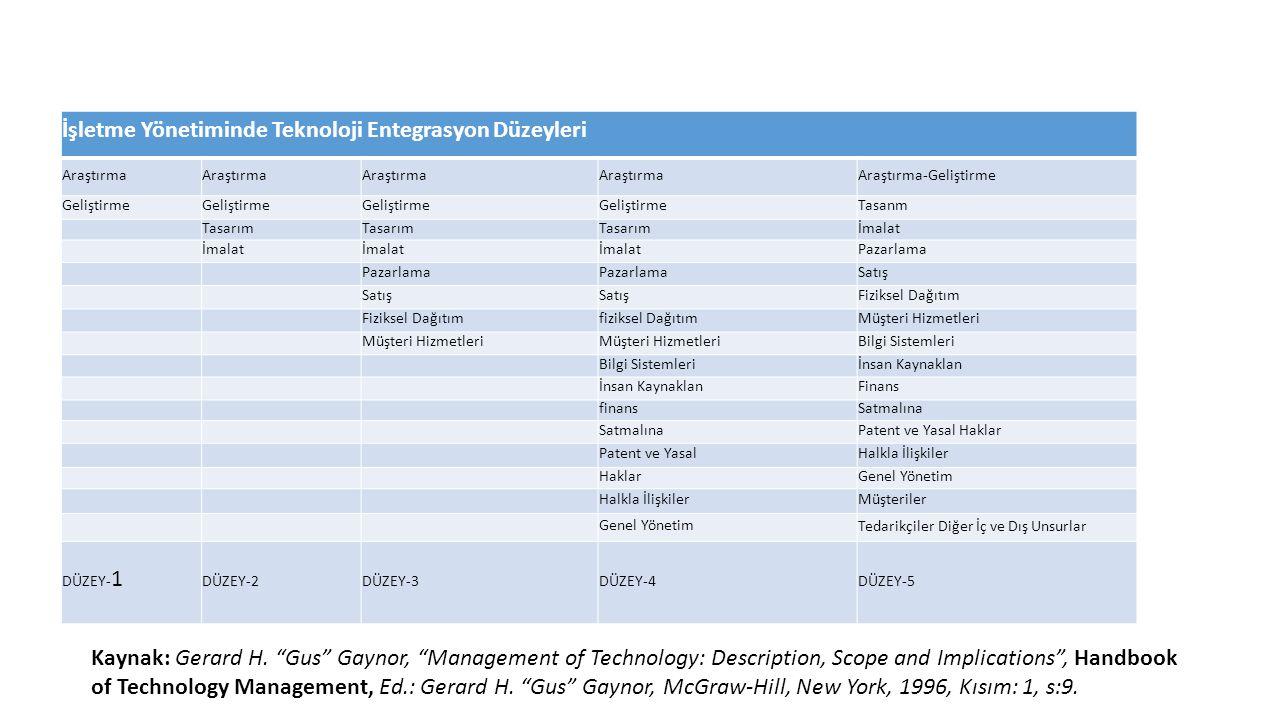 İşletme Yönetiminde Teknoloji Entegrasyon Düzeyleri