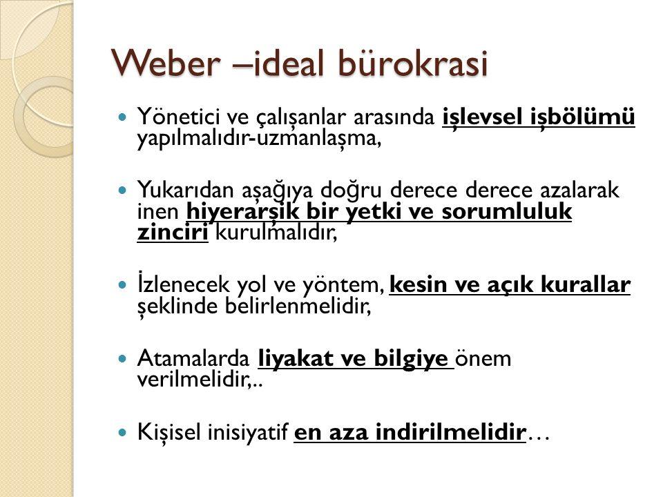 Weber –ideal bürokrasi
