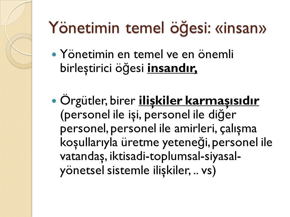Yönetimin temel öğesi: «insan»