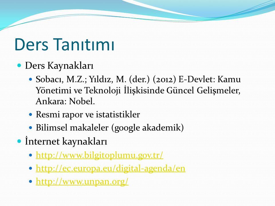 Ders Tanıtımı Ders Kaynakları İnternet kaynakları
