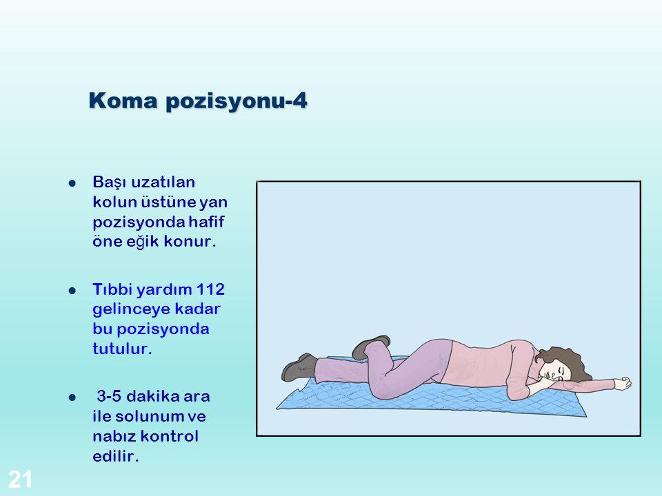Koma pozisyonu-4 Başı uzatılan kolun üstüne yan pozisyonda hafif öne eğik konur. Tıbbi yardım 112 gelinceye kadar bu pozisyonda tutulur.