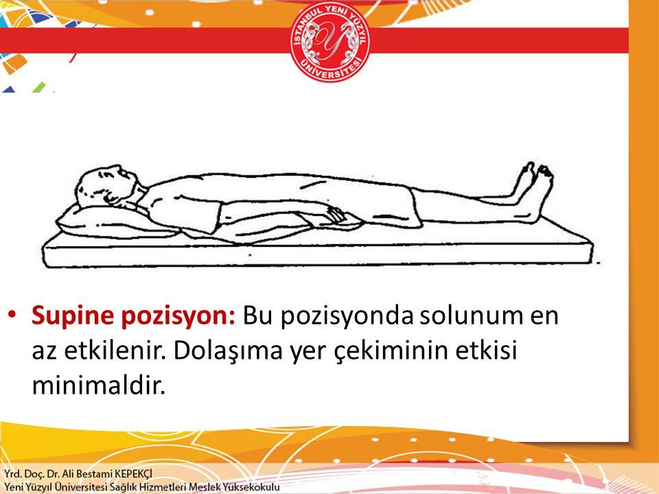 Supine pozisyon: Bu pozisyonda solunum en az etkilenir