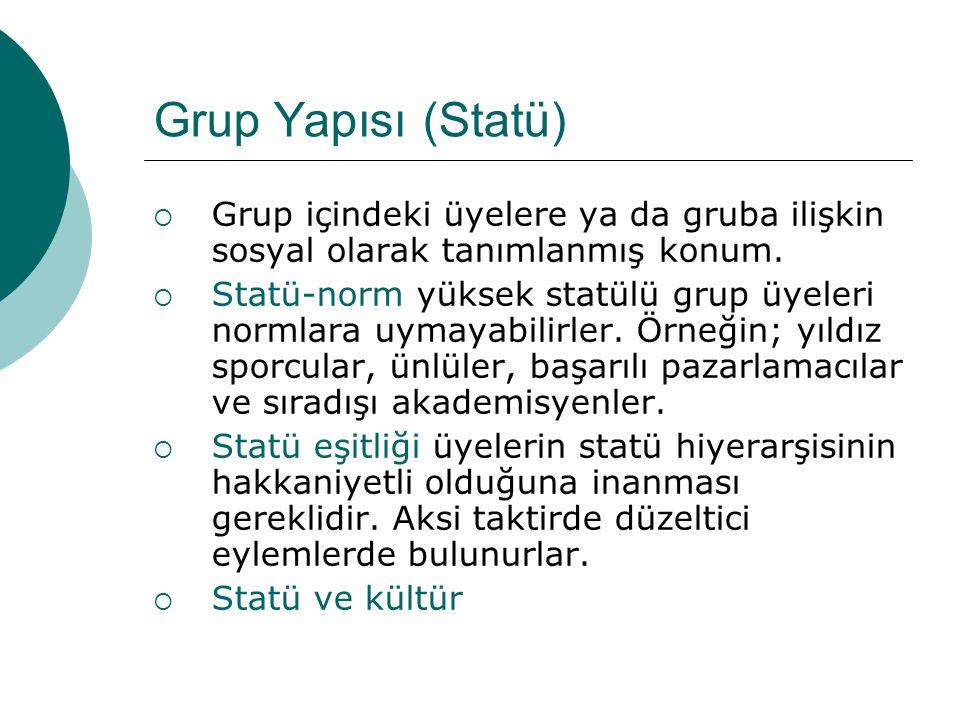 Grup Yapısı (Statü) Grup içindeki üyelere ya da gruba ilişkin sosyal olarak tanımlanmış konum.