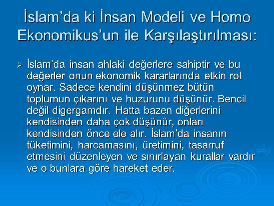 İslam'da ki İnsan Modeli ve Homo Ekonomikus'un ile Karşılaştırılması: