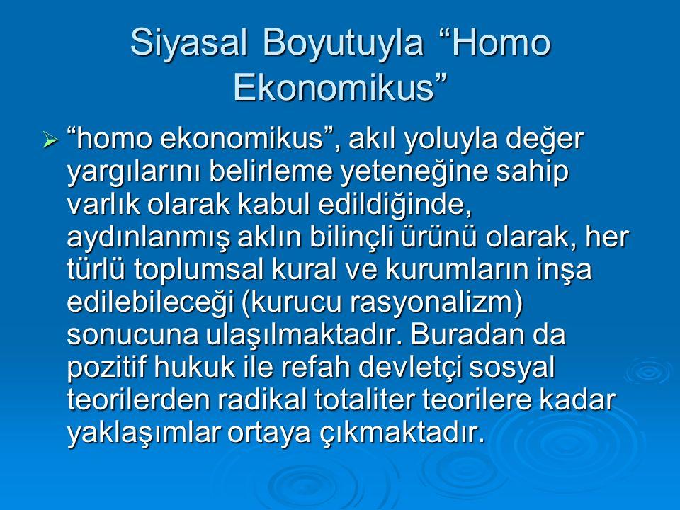 Siyasal Boyutuyla Homo Ekonomikus