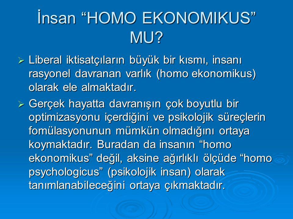 İnsan HOMO EKONOMIKUS MU