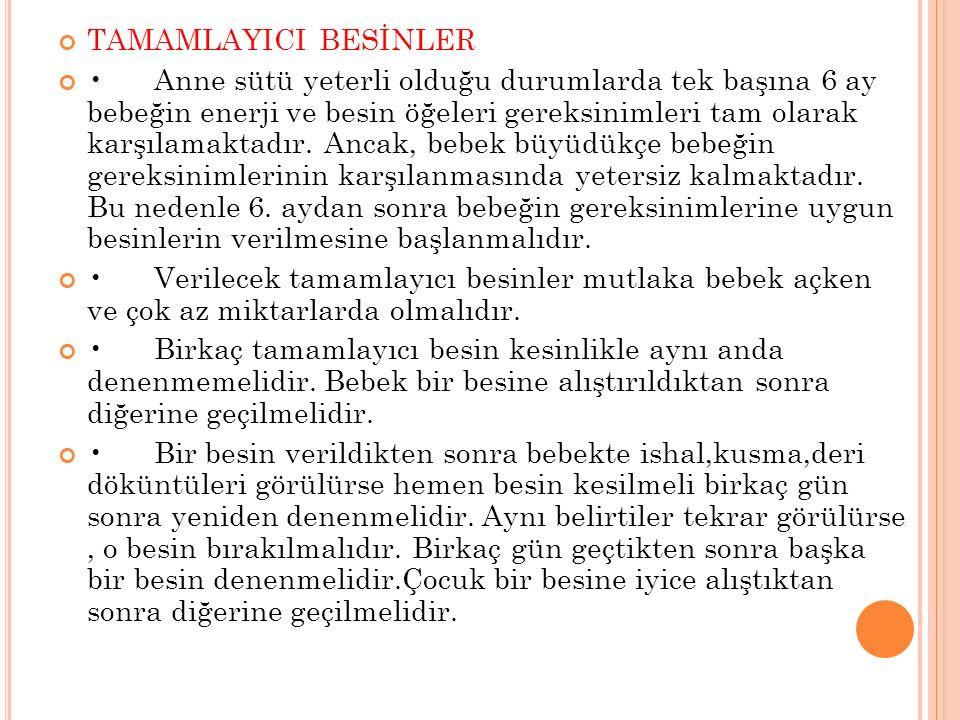 TAMAMLAYICI BESİNLER