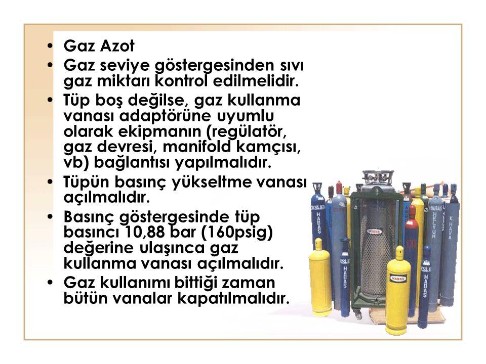 Gaz Azot Gaz seviye göstergesinden sıvı gaz miktarı kontrol edilmelidir.