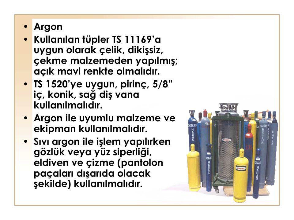 Argon Kullanılan tüpler TS 11169'a uygun olarak çelik, dikişsiz, çekme malzemeden yapılmış; açık mavi renkte olmalıdır.
