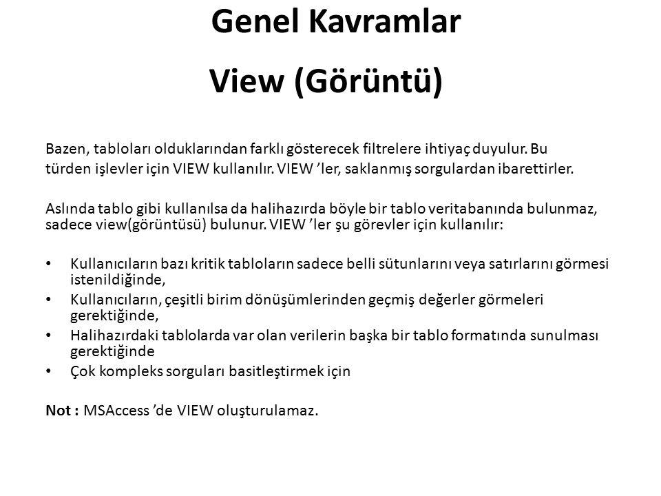 Genel Kavramlar View (Görüntü)