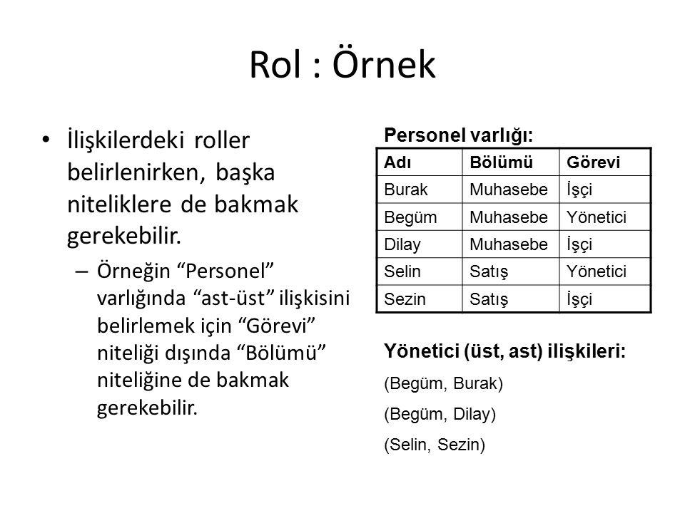 Rol : Örnek İlişkilerdeki roller belirlenirken, başka niteliklere de bakmak gerekebilir.