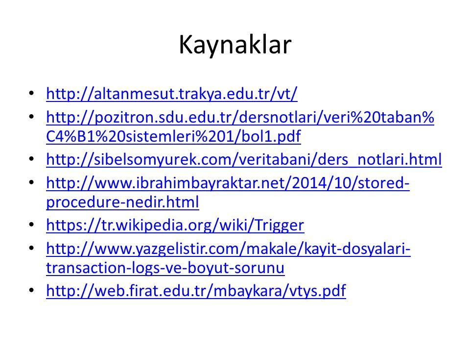Kaynaklar http://altanmesut.trakya.edu.tr/vt/