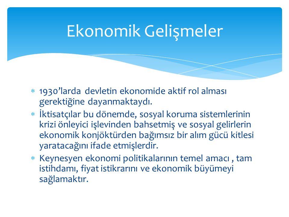 Ekonomik Gelişmeler 1930'larda devletin ekonomide aktif rol alması gerektiğine dayanmaktaydı.