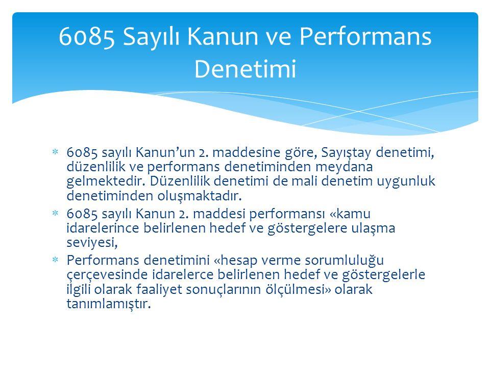 6085 Sayılı Kanun ve Performans Denetimi