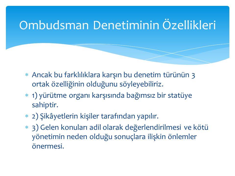 Ombudsman Denetiminin Özellikleri