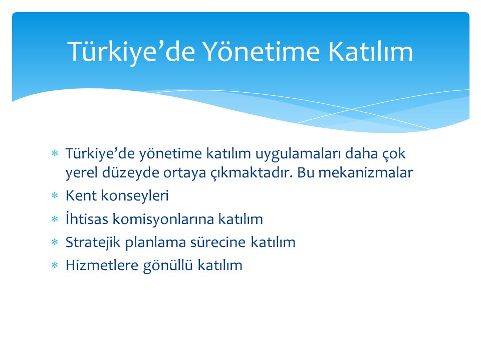 Türkiye'de Yönetime Katılım