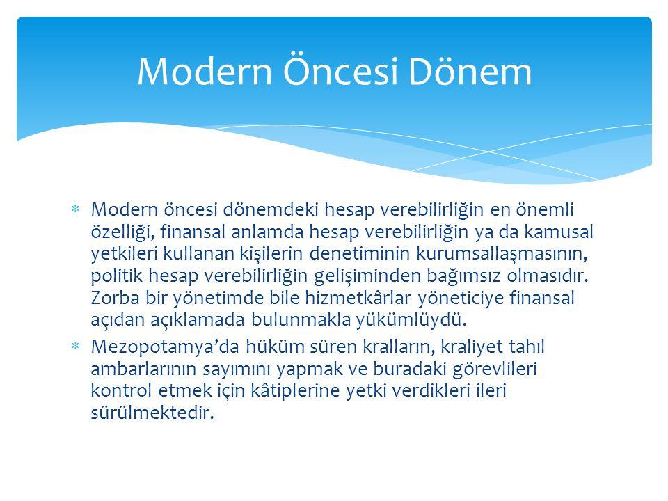 Modern Öncesi Dönem