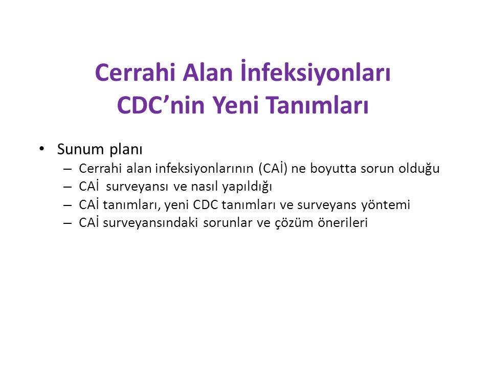 Cerrahi Alan İnfeksiyonları CDC'nin Yeni Tanımları