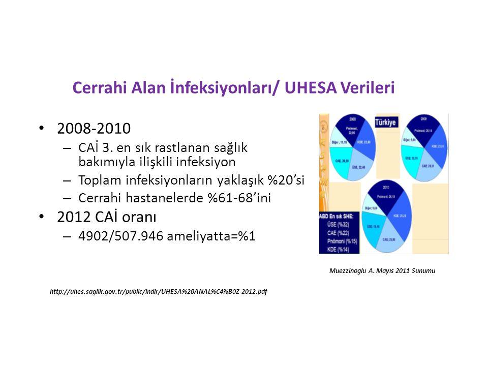 Cerrahi Alan İnfeksiyonları/ UHESA Verileri