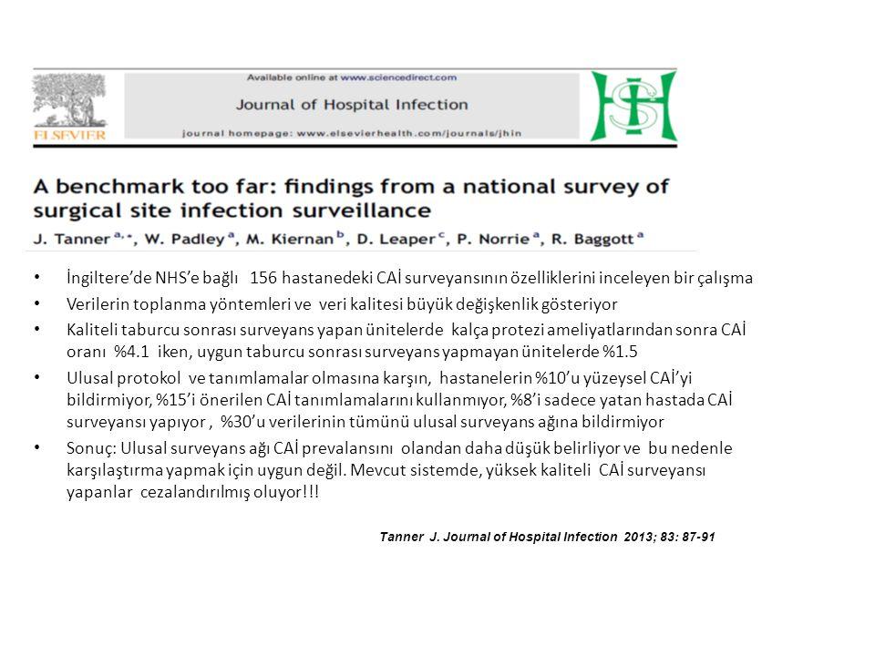 İngiltere'de NHS'e bağlı 156 hastanedeki CAİ surveyansının özelliklerini inceleyen bir çalışma