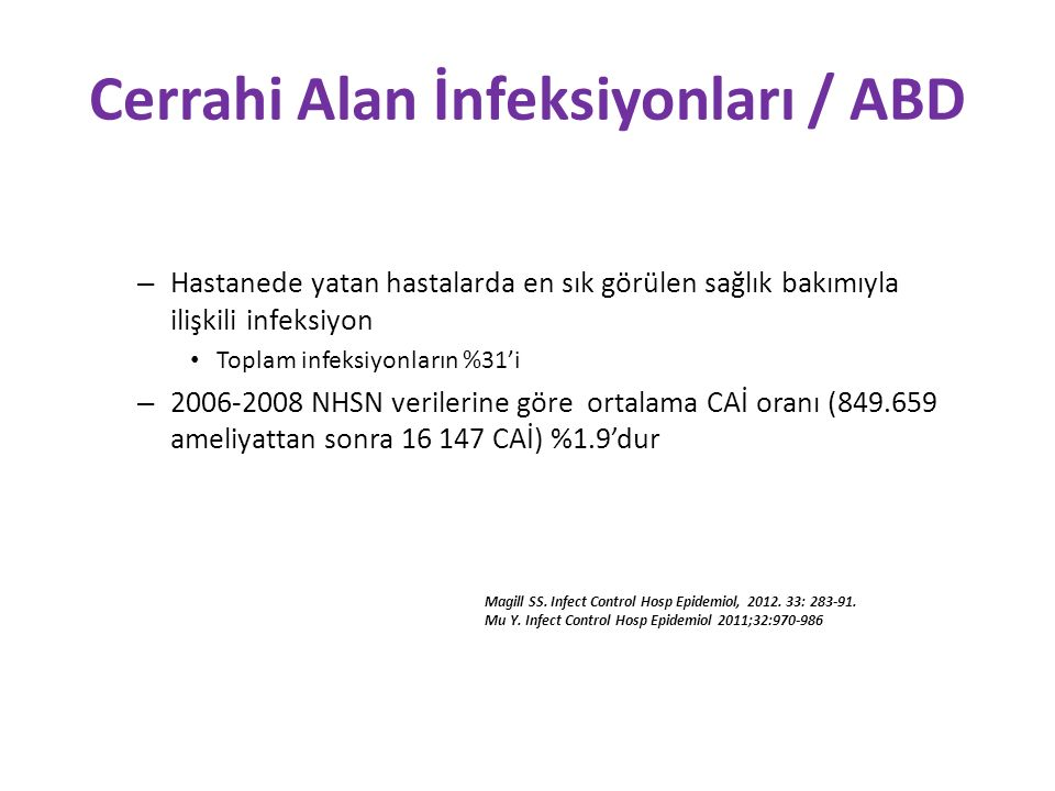 Cerrahi Alan İnfeksiyonları / ABD