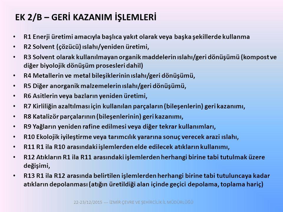 EK 2/B – GERİ KAZANIM İŞLEMLERİ