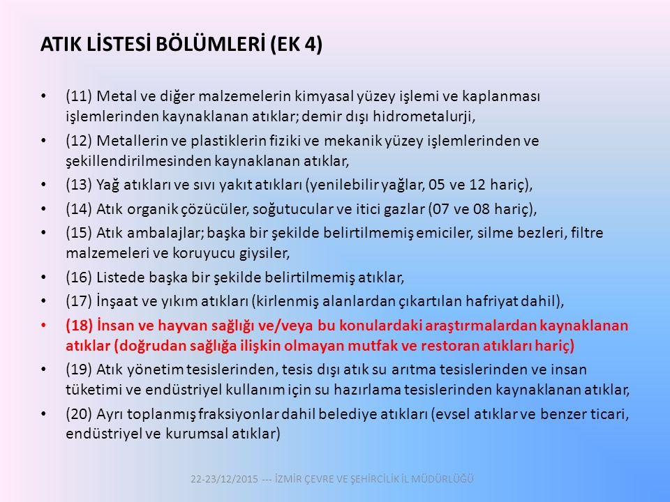 ATIK LİSTESİ BÖLÜMLERİ (EK 4)
